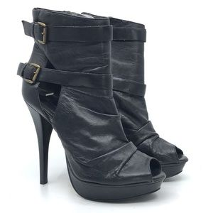 ALDO BLACK LEATHER PEEPTOE HIGH HEEL PLATFORM BOOT